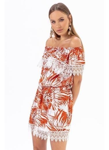 Emjey Yaka Etek Güpürlü Elbise Oranj